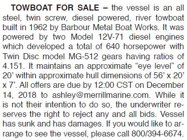 TOWBOAT FOR SALE