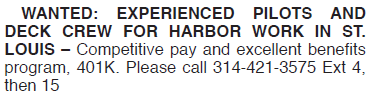 WANTED DECK CREW FOR HARBOR WORK IN ST. LOUIS