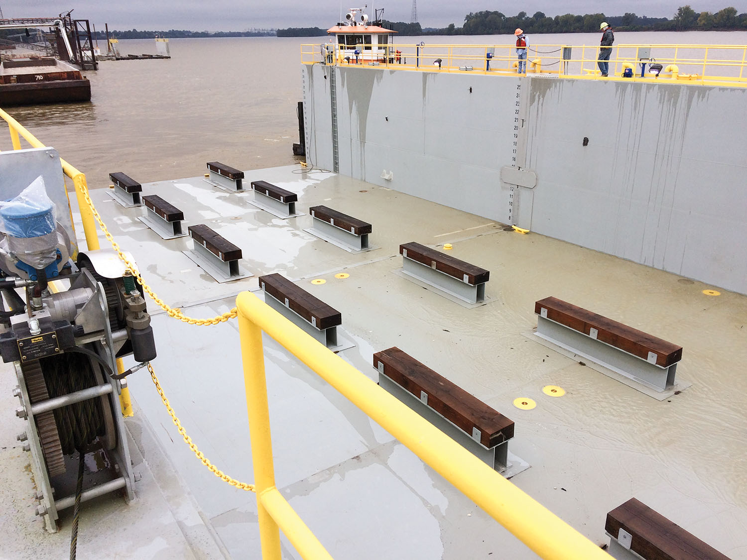 Yager Marine unveiled its new 120-foot drydock at its Owensboro, Ky., shipyard in November. The drydock was designed by The Shearer Group of Houston, Texas. (Photo courtesy of Yager Marine Industries)