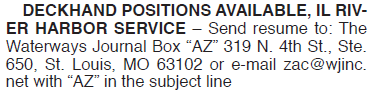 DECKHAND POSITIONS AVAILABLE