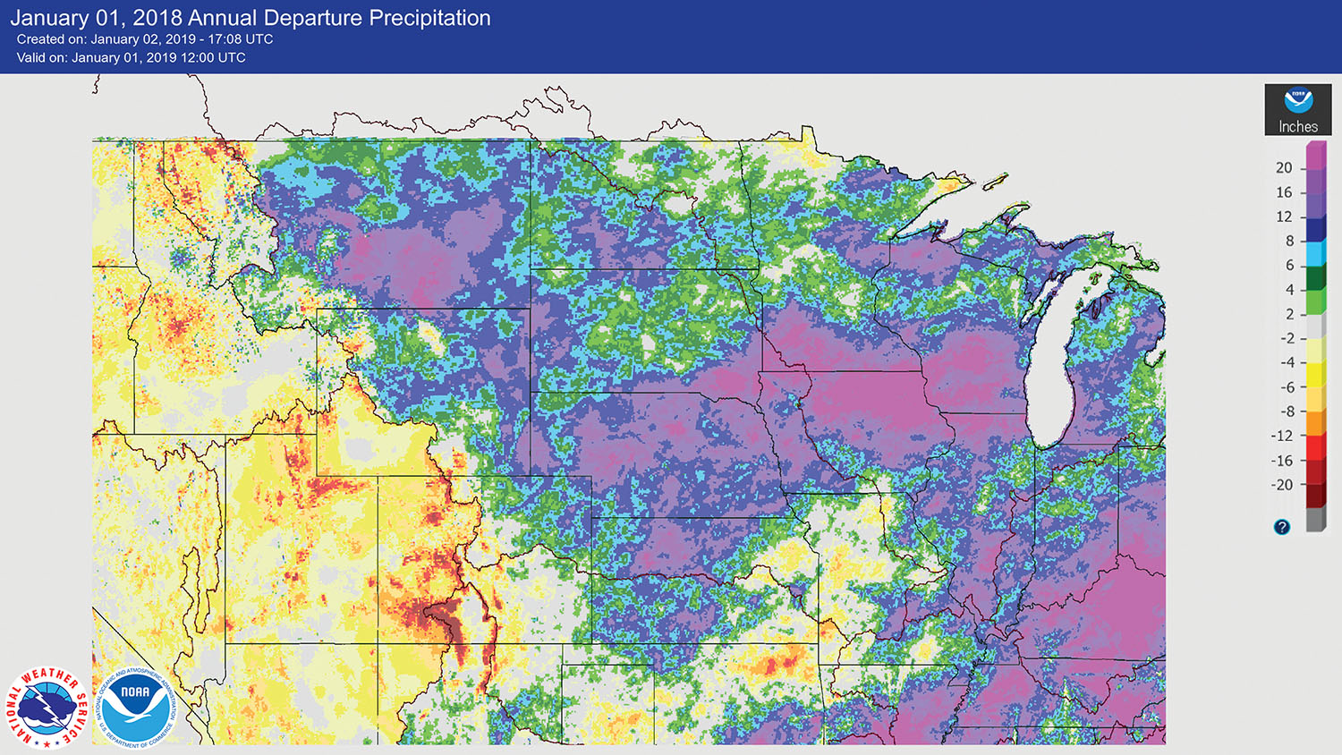 Map shows the departure from normal for annual rainfall in the Missouri River basin. For Yankton and Sioux Falls, S.D., 2018 was the wettest year on record. The Big Sioux, Elkhorn, Floyd, James, and Niobrara rivers and the Missouri River downstream from Gavins Point Dam—where flows are unregulated by dams—saw annual precipitation 8 to 20 inches above normal. (—image courtesy of National Weather Service water.weather.gov)