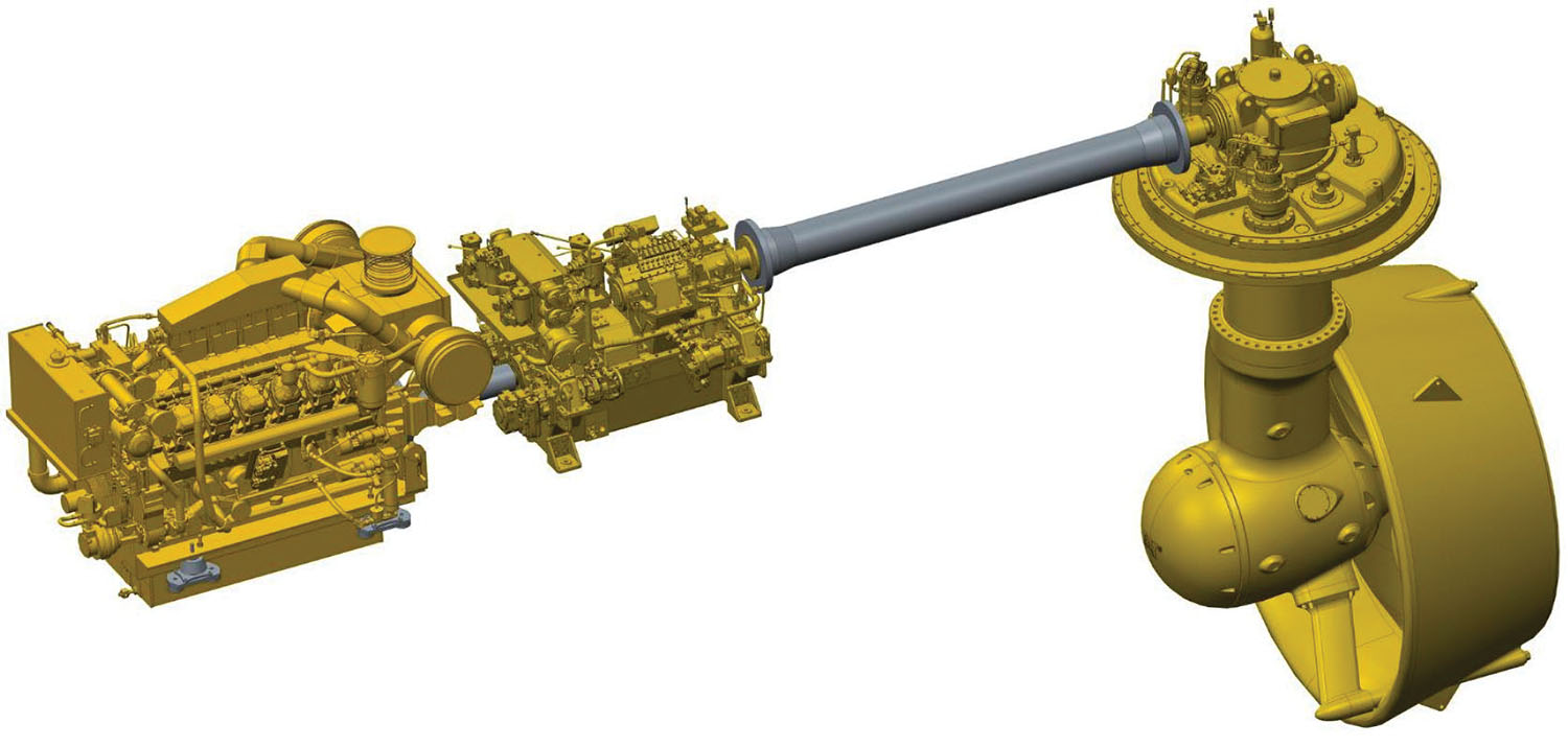 The Caterpillar AVD shown connecting an engine and a hydrostatic motor to a single propeller. This design allows the engine and other systems to operate independently of the propeller, improving performance and increasing fuel efficiency.