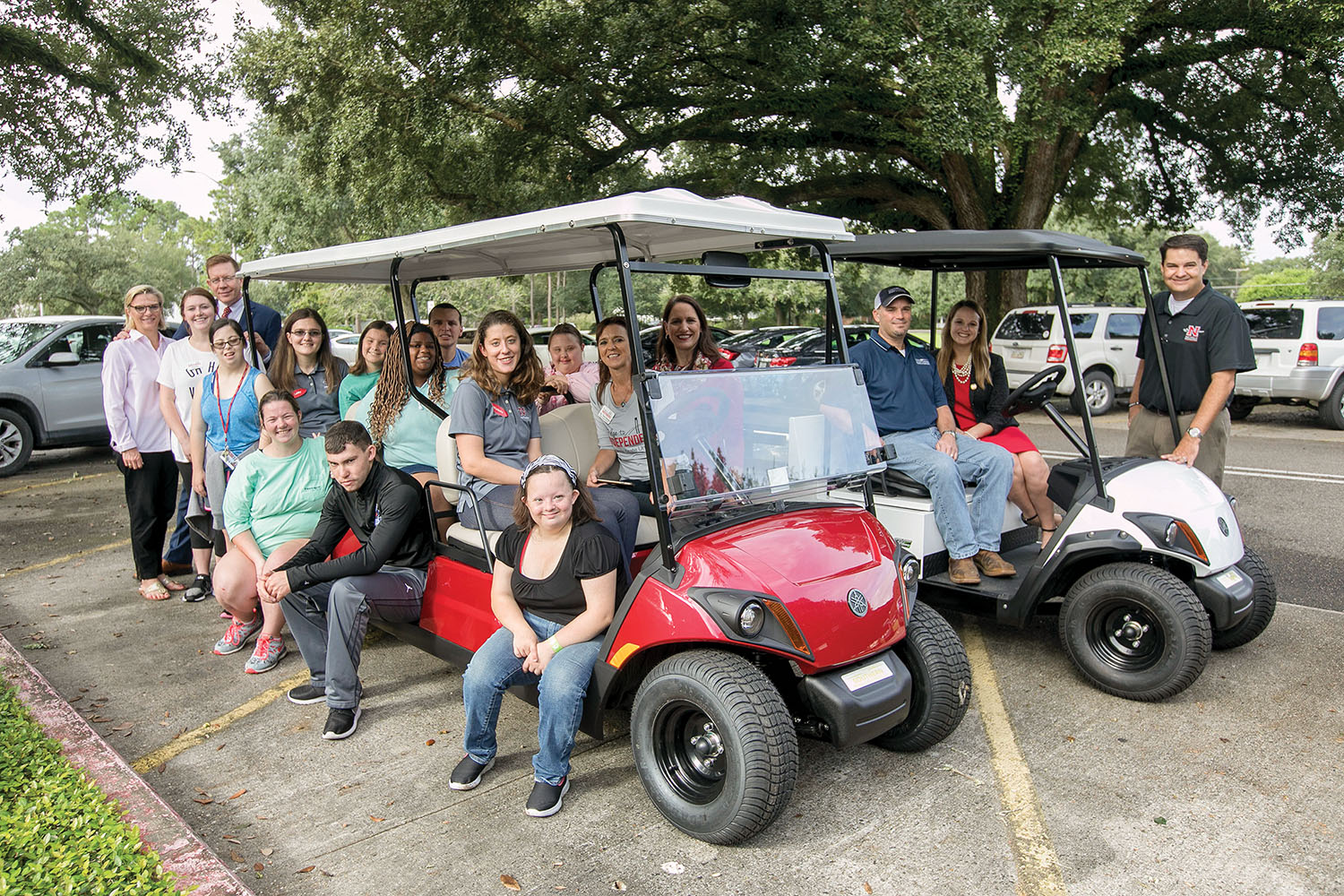 The golf carts will give students in the Bridge to Independence Program faster and easier transportation throughout the Nicholls State campus.