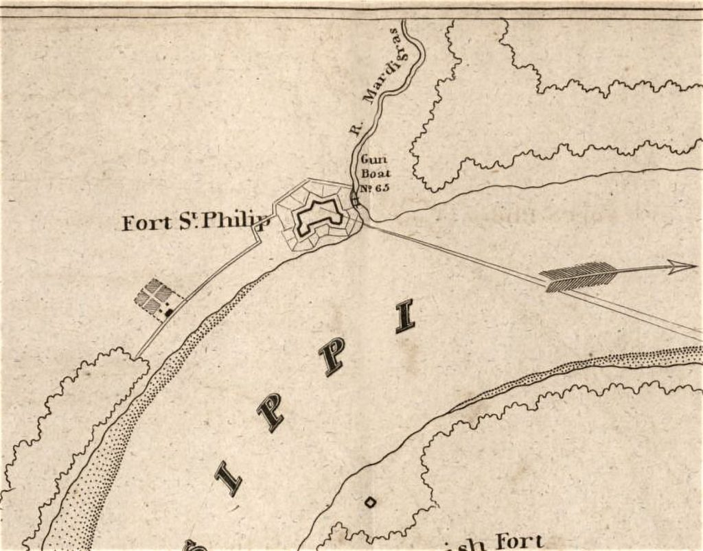 "An 1815 military map showed a gunboat stationed in ""R. Mardigras"" alongside Fort St. Philip. The ""R"" would be for ""rivière,"" meaning river or chute. The straight lines are target arcs from British ships downriver bombarding the fort at a range of 4,000 yards."