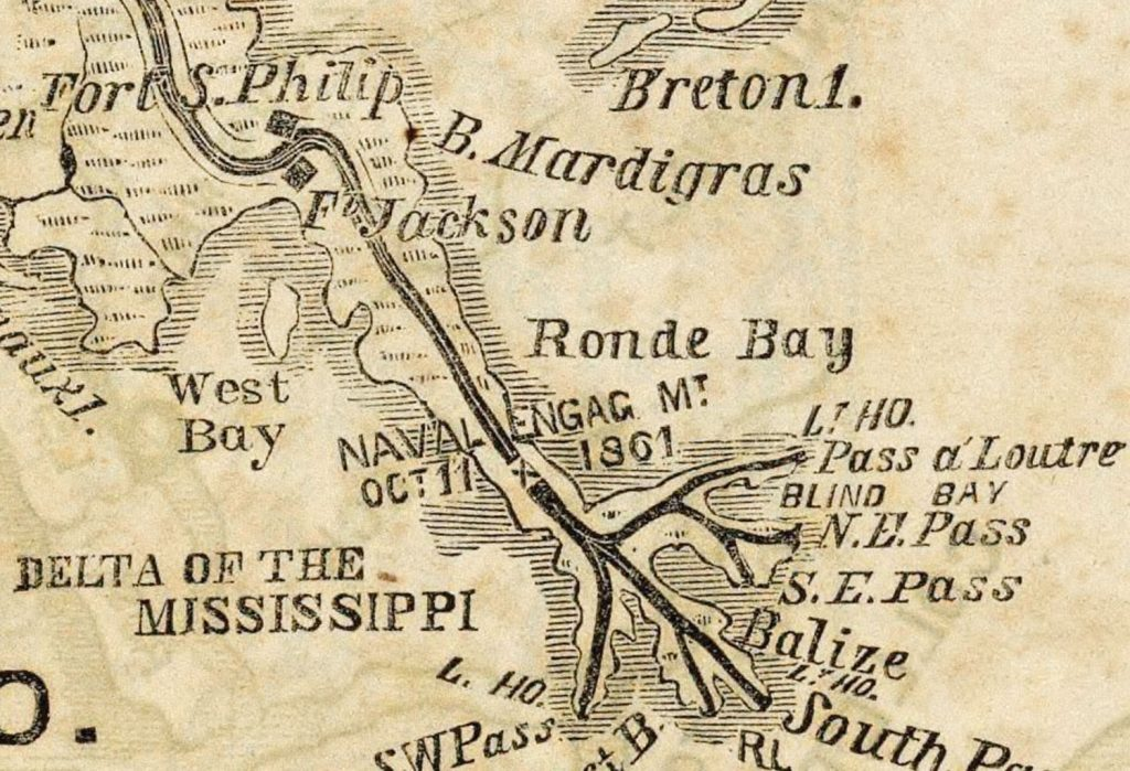 "Detail of a map of ""New Orleans and Surrounding Country"" published by the New York Herald in 1861 to show military positions at the beginning of the Civil War."