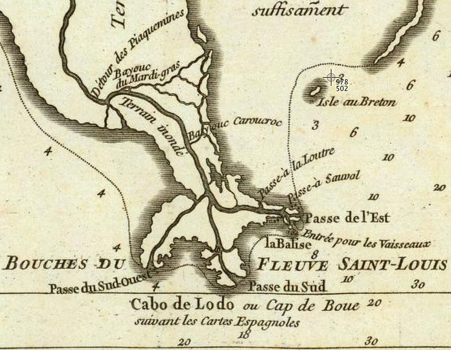 "Detail of a c. 1752 French map of Louisiana showing Bayouc du Mardi-gras as well as ""Piaquemines"" Bend. The map also labels the delta in French as the ""mouths of the Saint Louis River."" The spelling ""Bayouc"" is apparently archaic French."