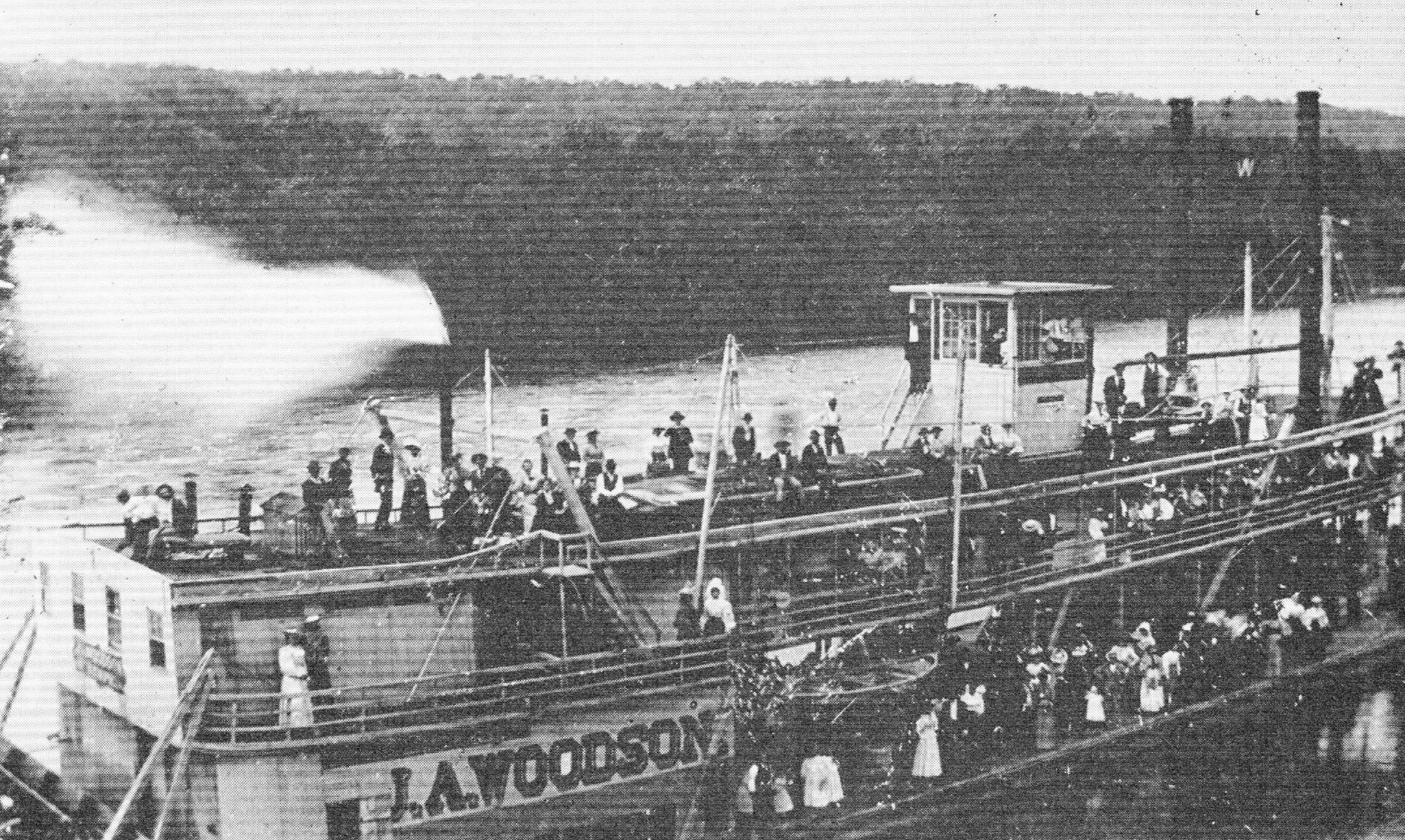 Caption for photo:  The J.A. Woodson with an excursion on the White River in the 1880s. (Keith Norrington collection)