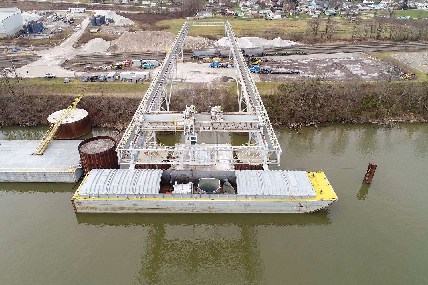 Once the ladles arrived in the United States from China, the vessel carrying them took 21 days to reach the Wellsville Intermodal Facility from New Orleans. (Photo courtesy of Columbiana County Port Authority)
