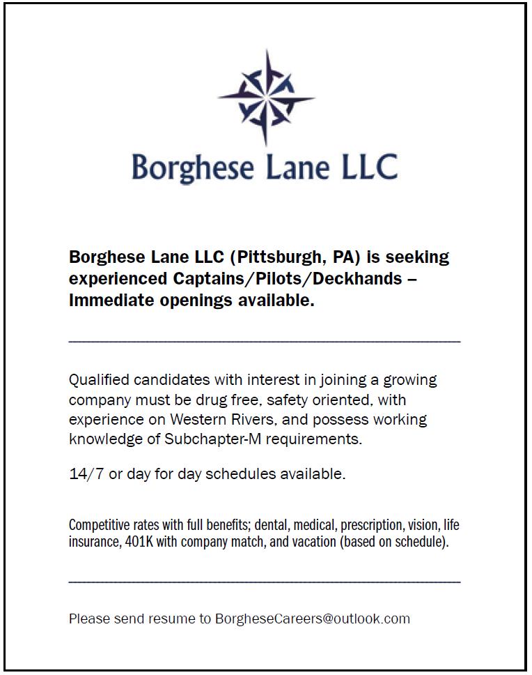 Borghese Lane (Quarter) Seeking Experienced Captains