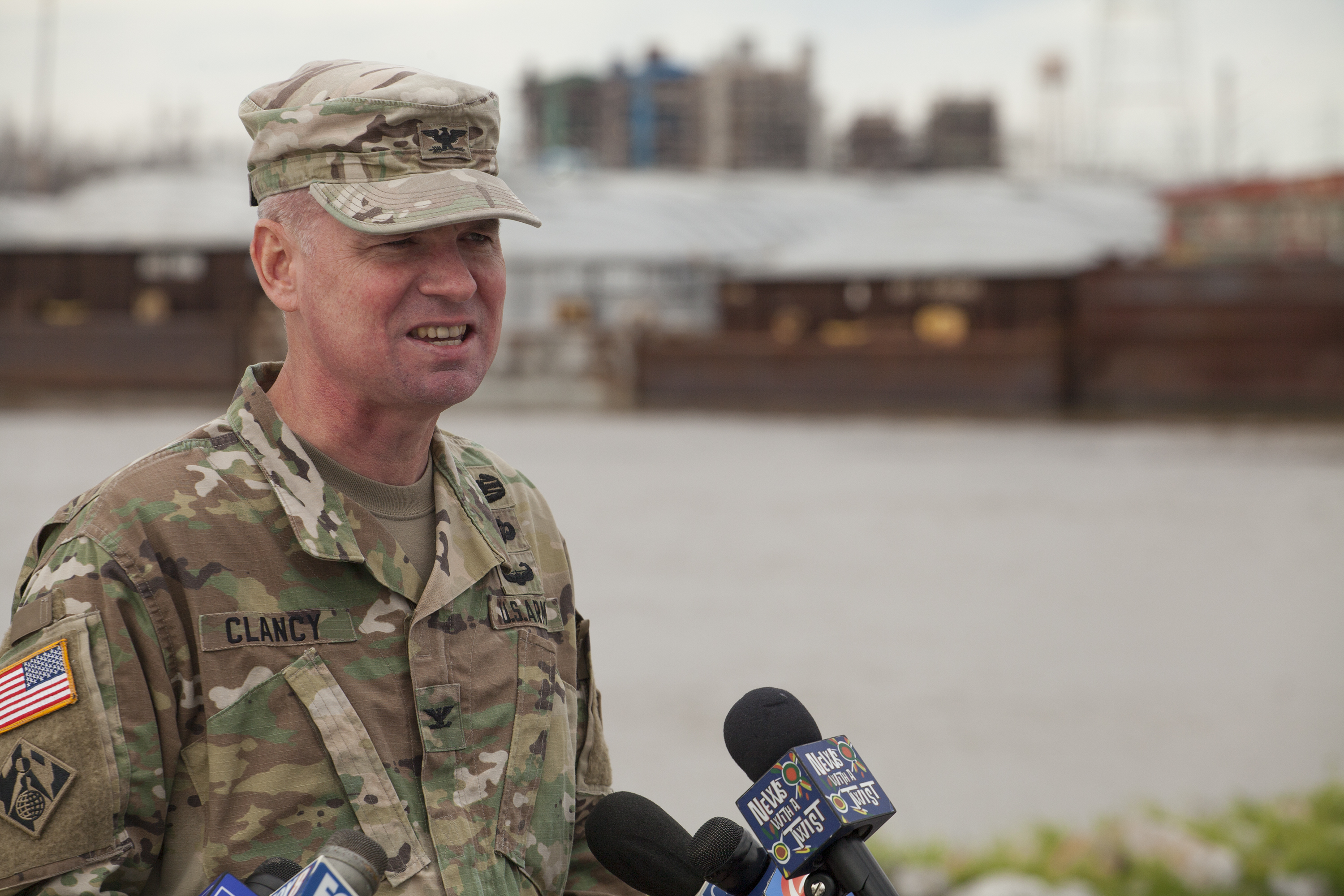 Col. Michael Clancy, commander of the New Orleans Engineer District, stands outside the Corps office in New Orleans February 25 to announce the decision to open the Bonnet Carré Spillway on February 27.