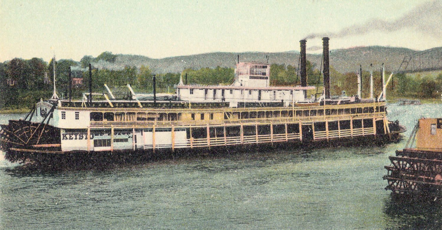 A vintage postcard of the Keystone State at the Wheeling wharf. (Keith Norrington collection)
