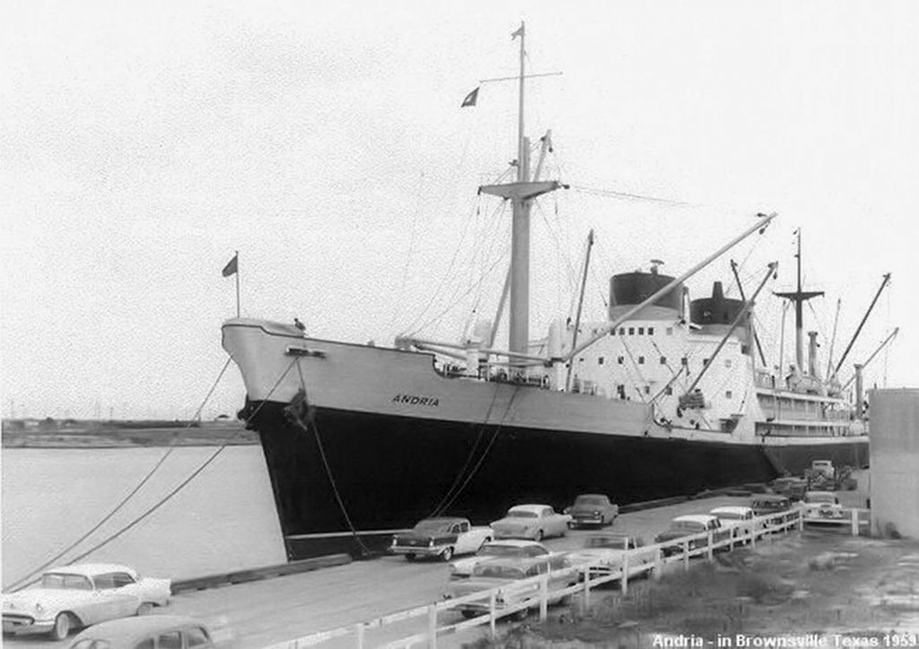 The Union Faith, with its previous name Andria, dockside in Brownsville, Texas, in 1959.