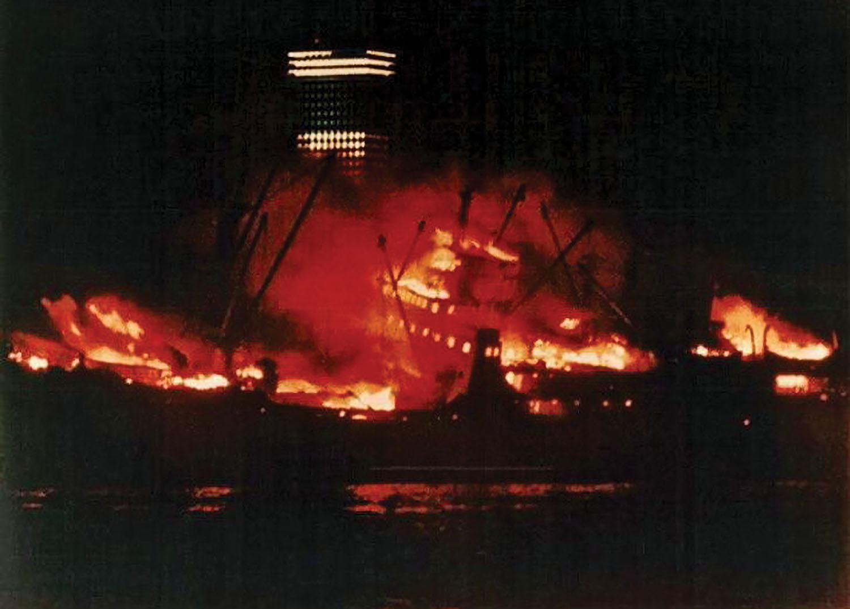 The Union Faith burning before it sank.