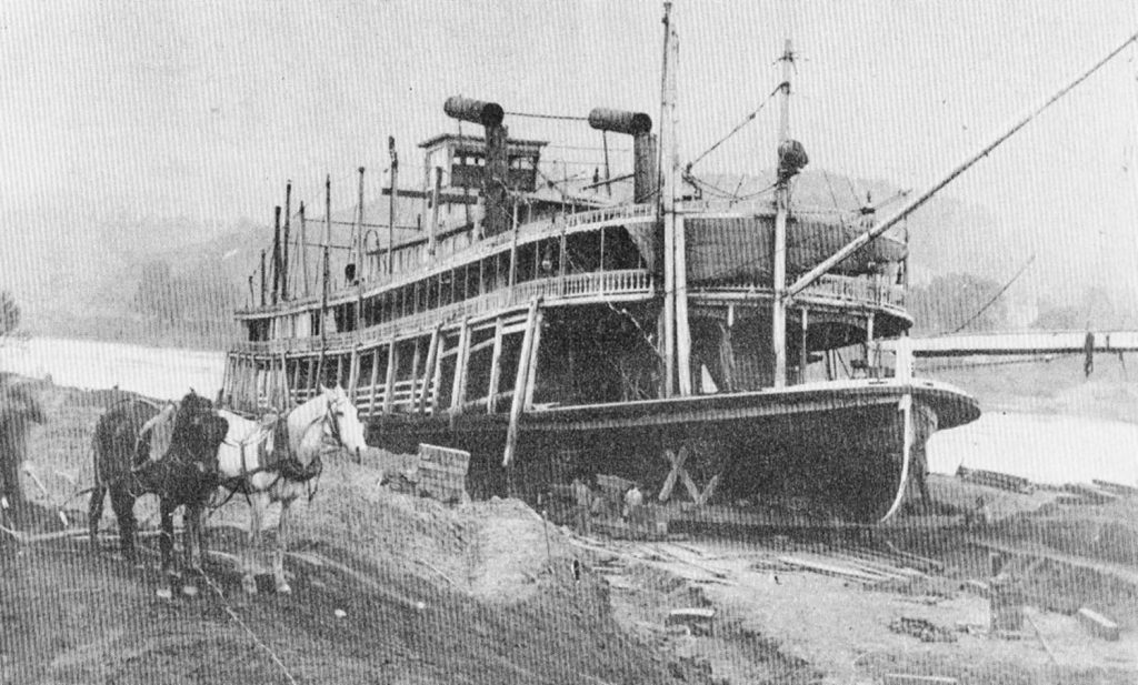 During efforts to refloat the stranded steamboat. (Keith Norrington collection)