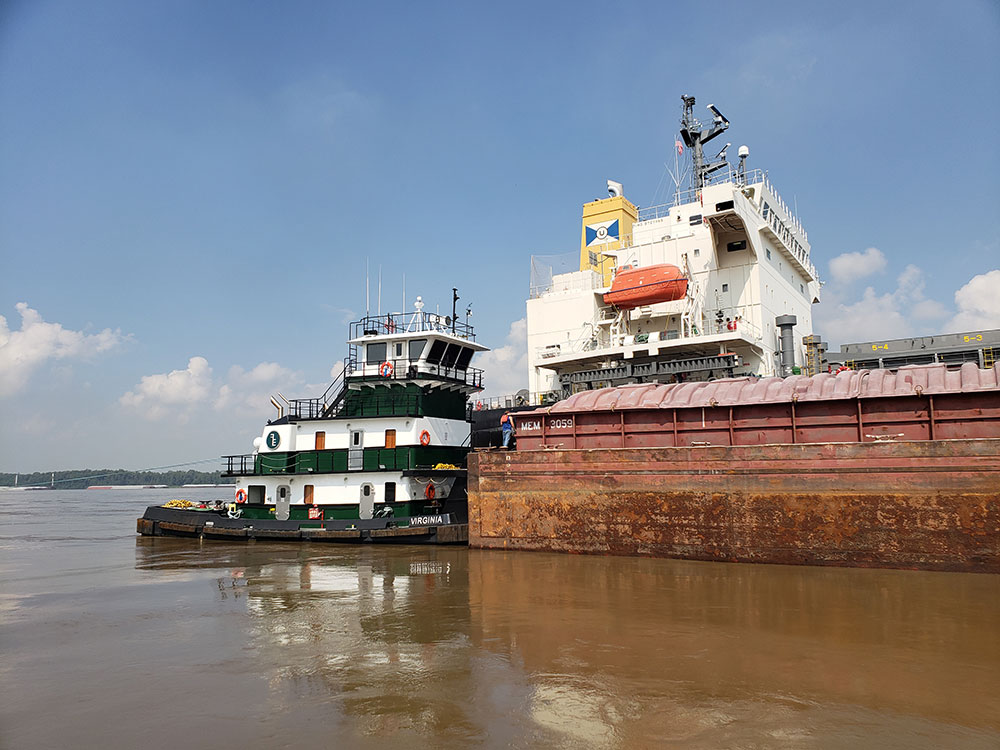 According to Blakeley and Plimsoll, the mv. Virginia is the first towboat to