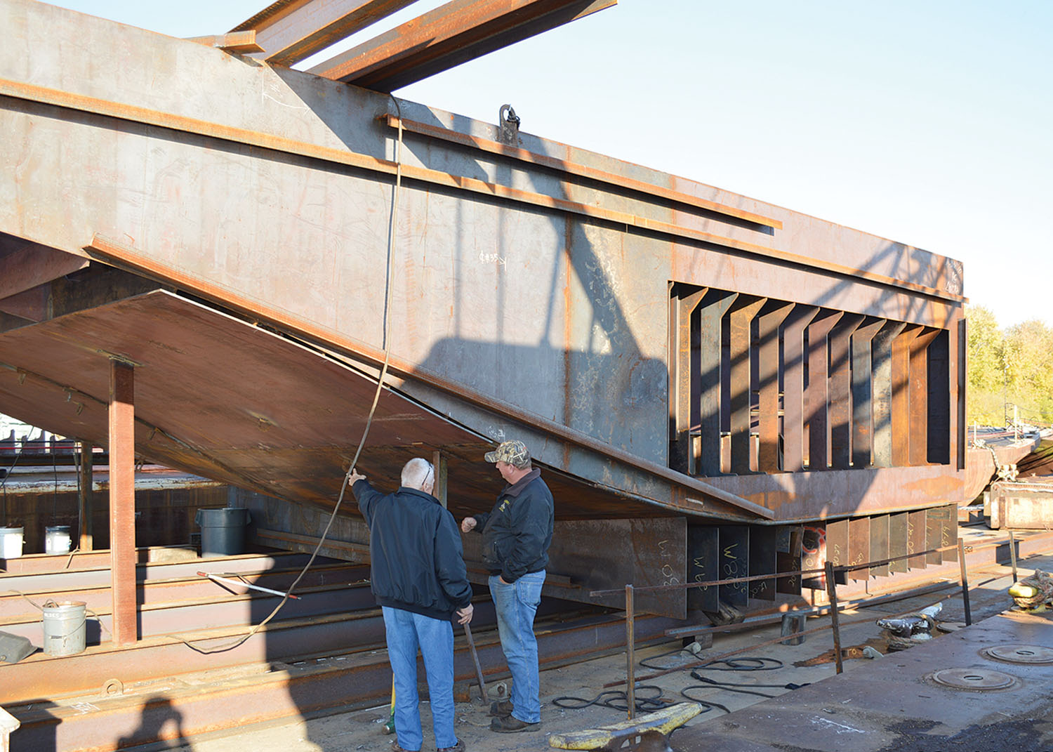 New towboat under construction at Mike's. (Photo courtesy of Mike's Inc.)