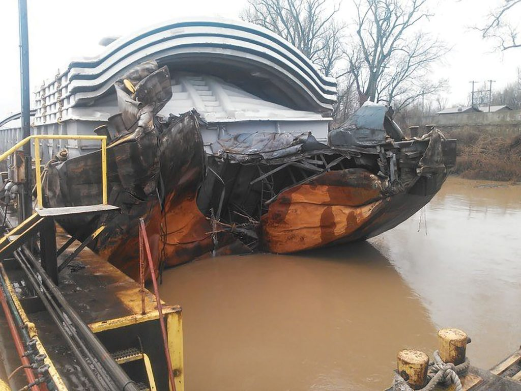 """Before"" view of barge rake replacement. (Photo courtesy of Waterfront Services)"
