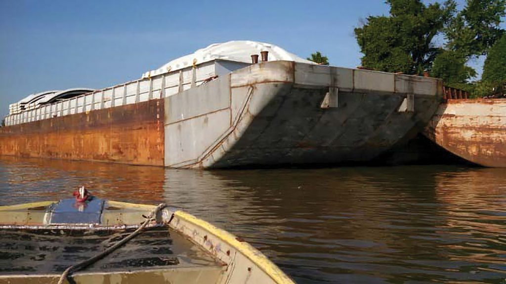 """After"" view of barge rake replacement. (Photo courtesy of Waterfront Services Company)"