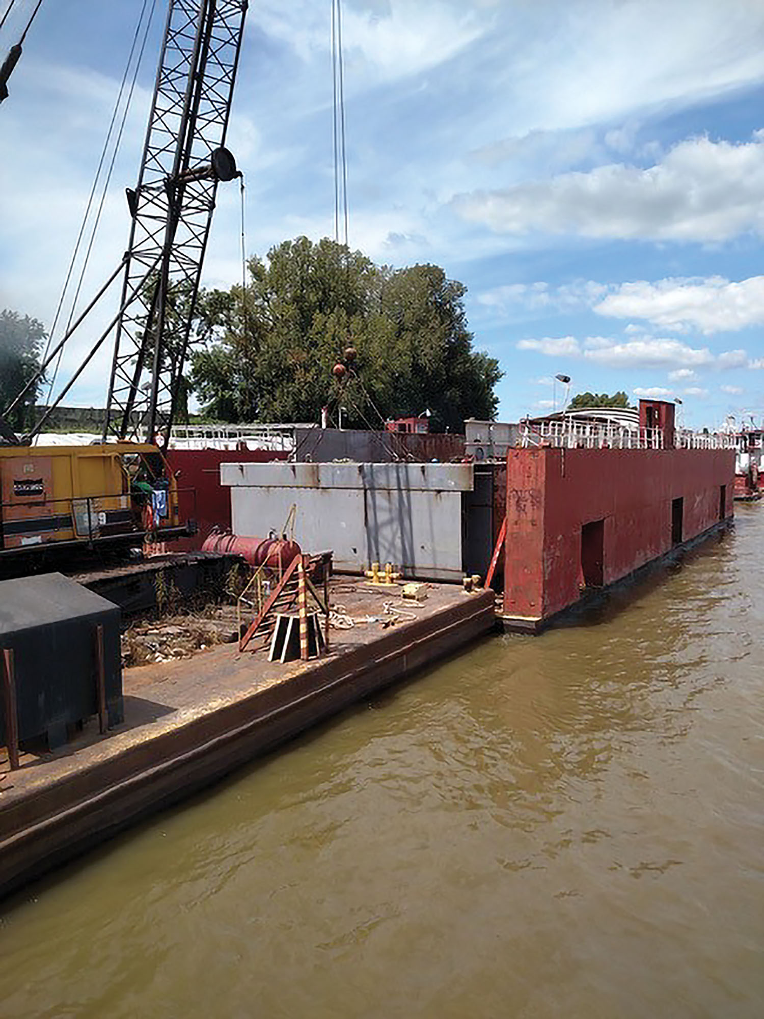 Waterfront Services Company has expanded its shipyard and fleeting operations since it was founded on the confluence of the Ohio and Mississippi rivers in Cairo, Ill., in 1967. (Photo courtesy of Waterfront Services)