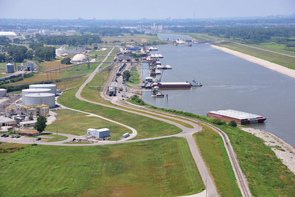 Situated just above Locks 27 in the Chain of Rocks Canal, the original port area was begun in 1959. (Photo courtesy of America's Central Port)
