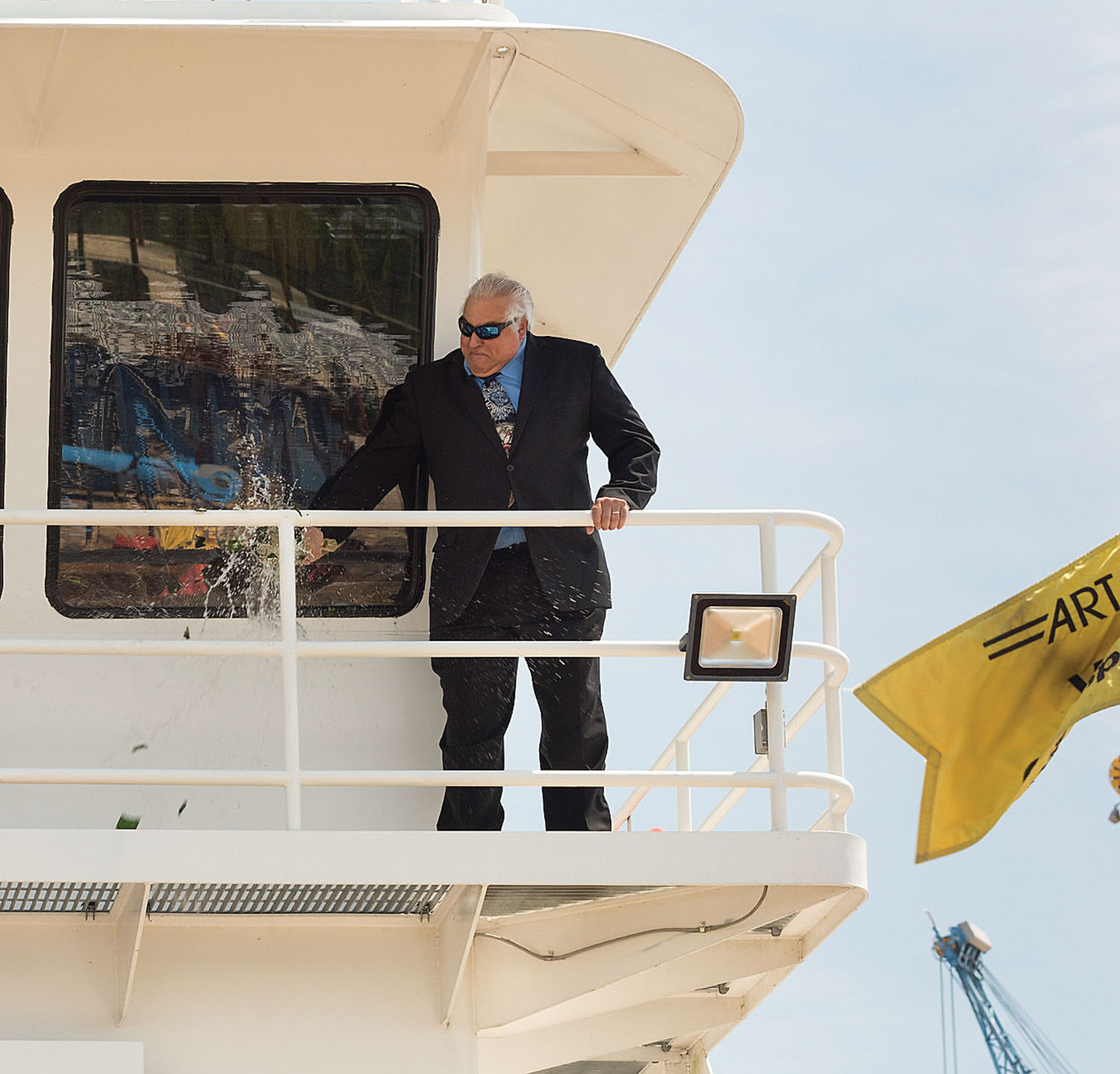 The Louisiana Transporter is christened by Anthony Taormina. (Photo courtesy of ARTCO)