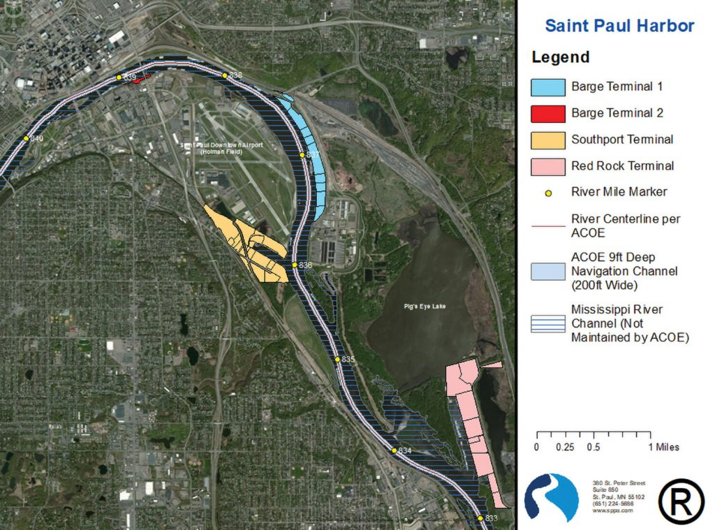 The Port of St. Paul occupies six miles of the Upper Mississippi River, from Mile 839 south to Mile 833. The port's four terminals are color coded. Private terminals with their own dock facilities are also operated in this stretch of river. (Map courtesy of the St. Paul Port Authority.)