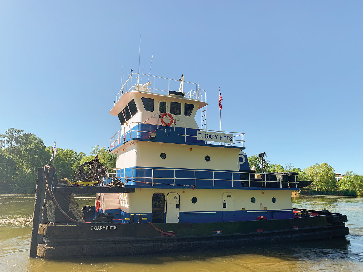 The mv. T. Gary Fitts was originally named Daphne Renee and later L.W. Nelson. Parker Towing Company renamed it in honor of the owner of the company's longtime insurance broker.