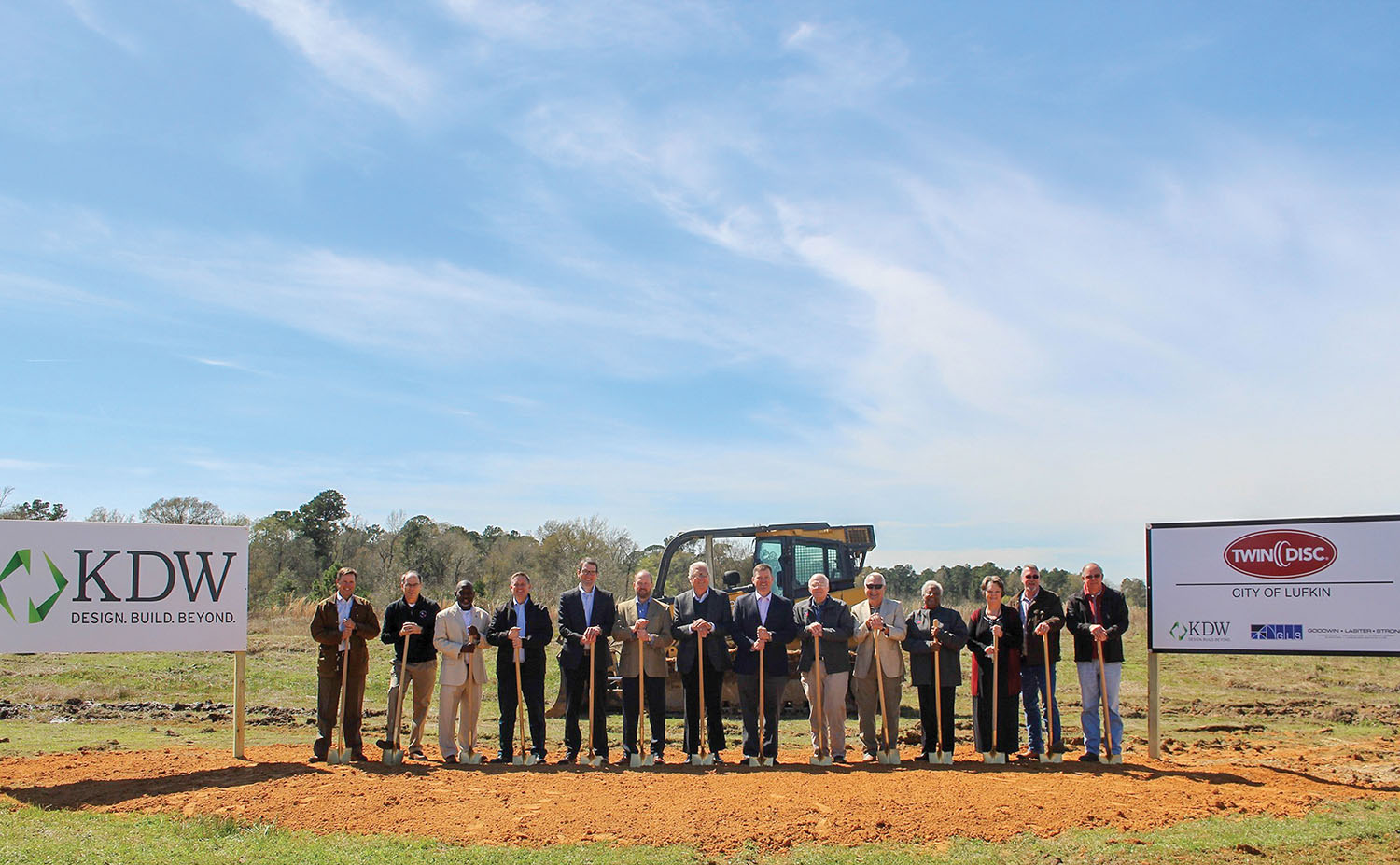 Groundbreaking ceremony for new 50,000-square-foot Twin Disc manufacturing facility in Lufkin, Texas.