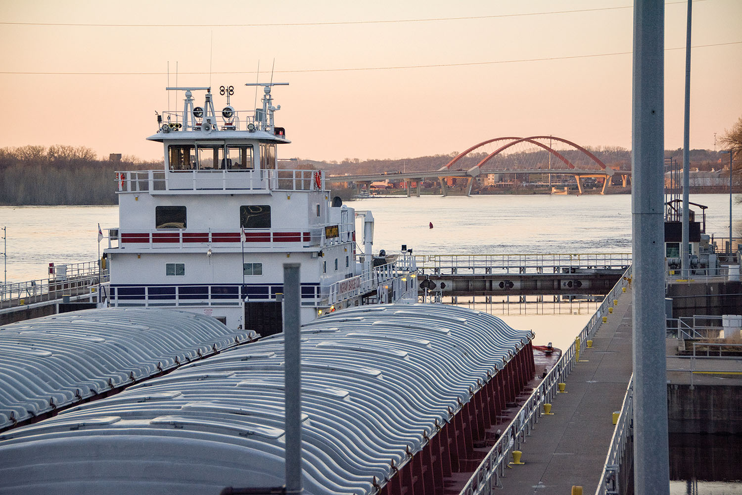 The mv. Aaron F. Barrett transits Upper Mississippi River Lock 2 April 24 to reach the Port of St. Paul. (Photo by Patrick Loch, St. Paul Engineer District)