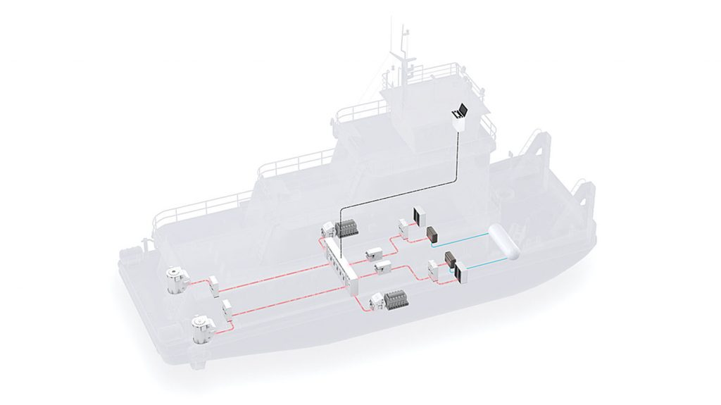 Concept illustration of a pushboat powered by fuel cell system.