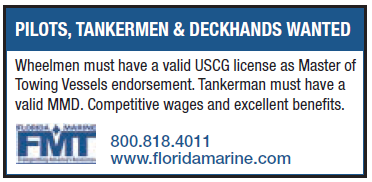 Florida Marine (2 inch) Looking for Pilots, Tankermen, Deckhands
