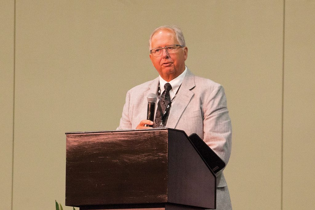Rich Cooper, formerly of Port of Indiana, speaks at the IRPT conference upon receiving the organization's lifetime achievement award. (Photo by Frank McCormack)