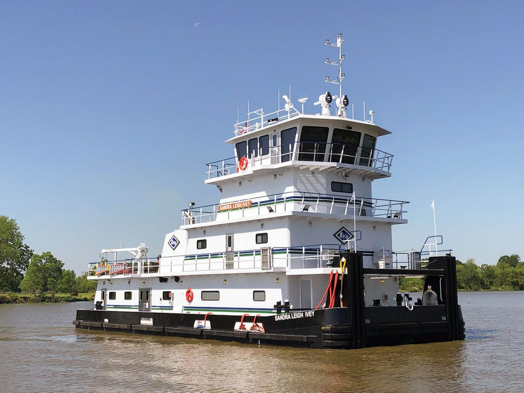 The Sandra Leigh Ivey is the second of a series of towboats for Kirby from Main Iron Works. (Photo courtesy of Kirby Inland Marine)