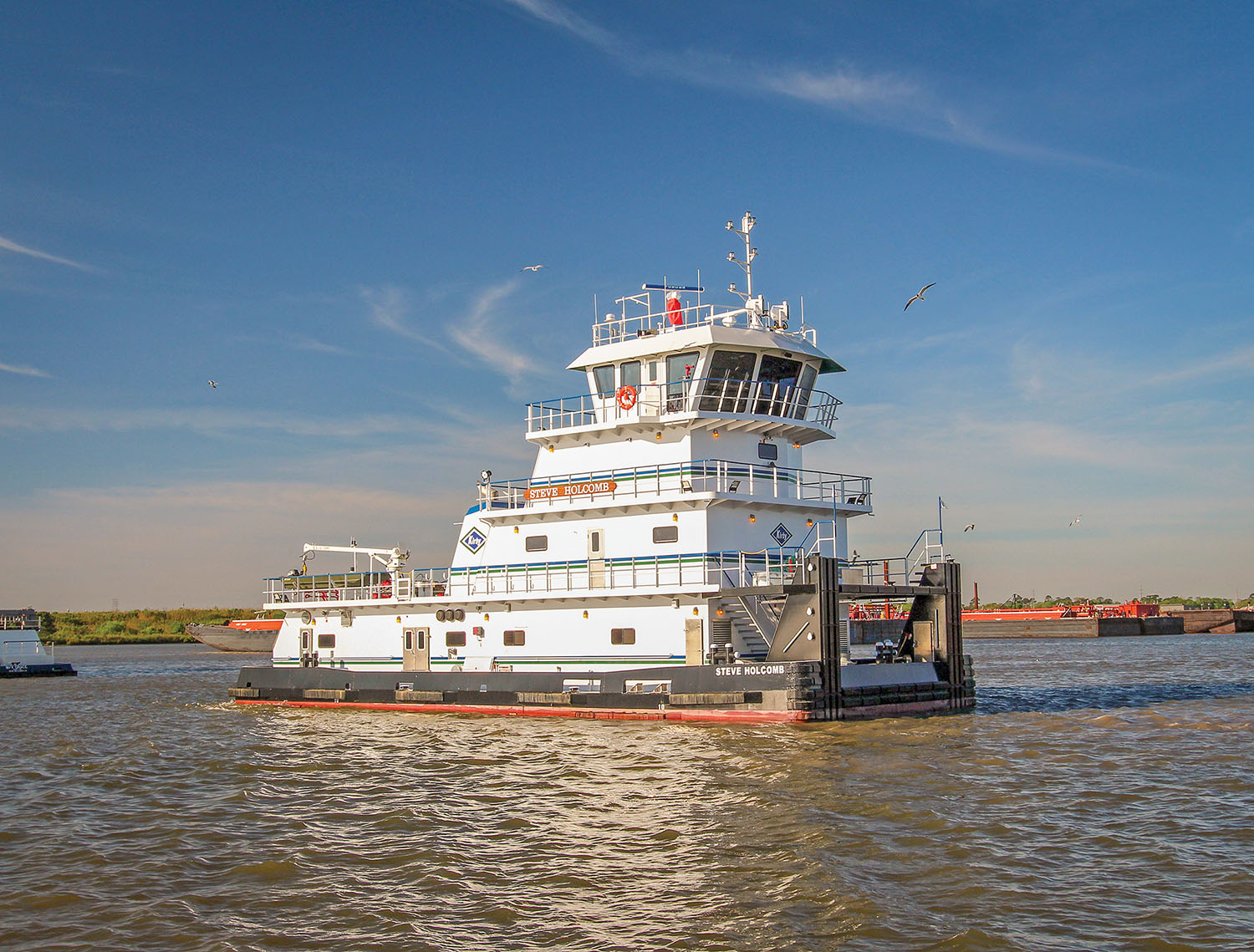 The mv. Steve Holcomb is the first boat to come out of San Jac Marine LLC, Kirby's new shipyard on the site of the former Sneed Shipbuilding. (Photo courtesy of Kirby Inland Marine)
