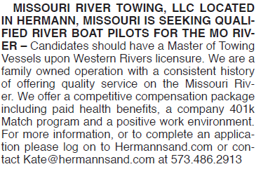 MISSOURI RIVER TOWING PILOTS WANTED