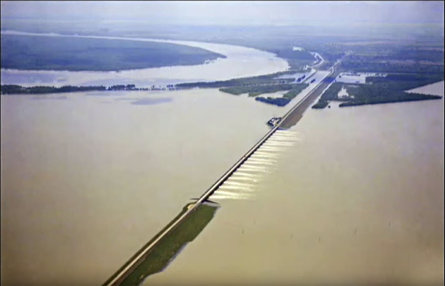 Screenshot from Corps video shows Morganza Control Structure and Floodway in operation in a previous flood event.