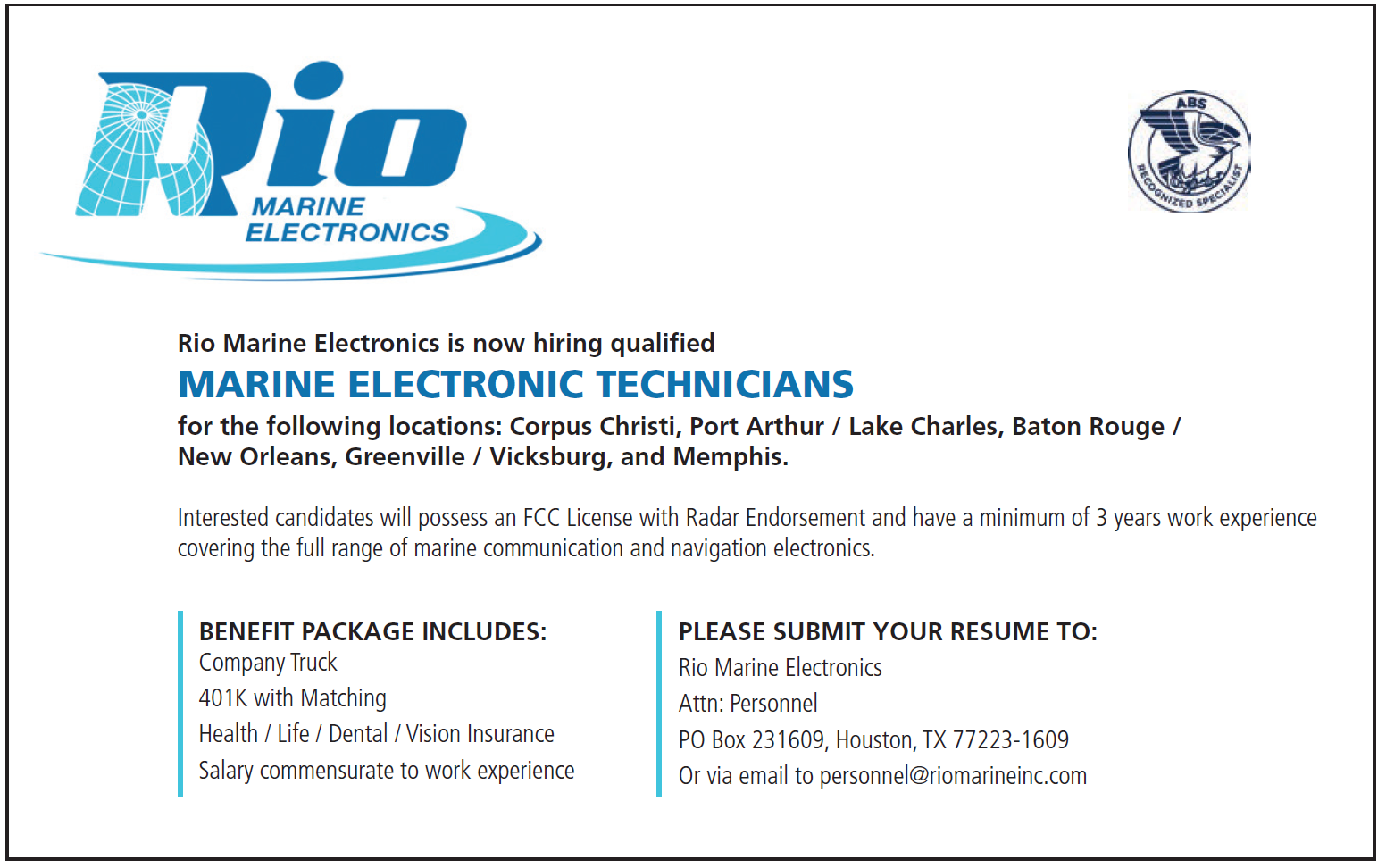 Rio Marine Electronics (Half) Marine Technician