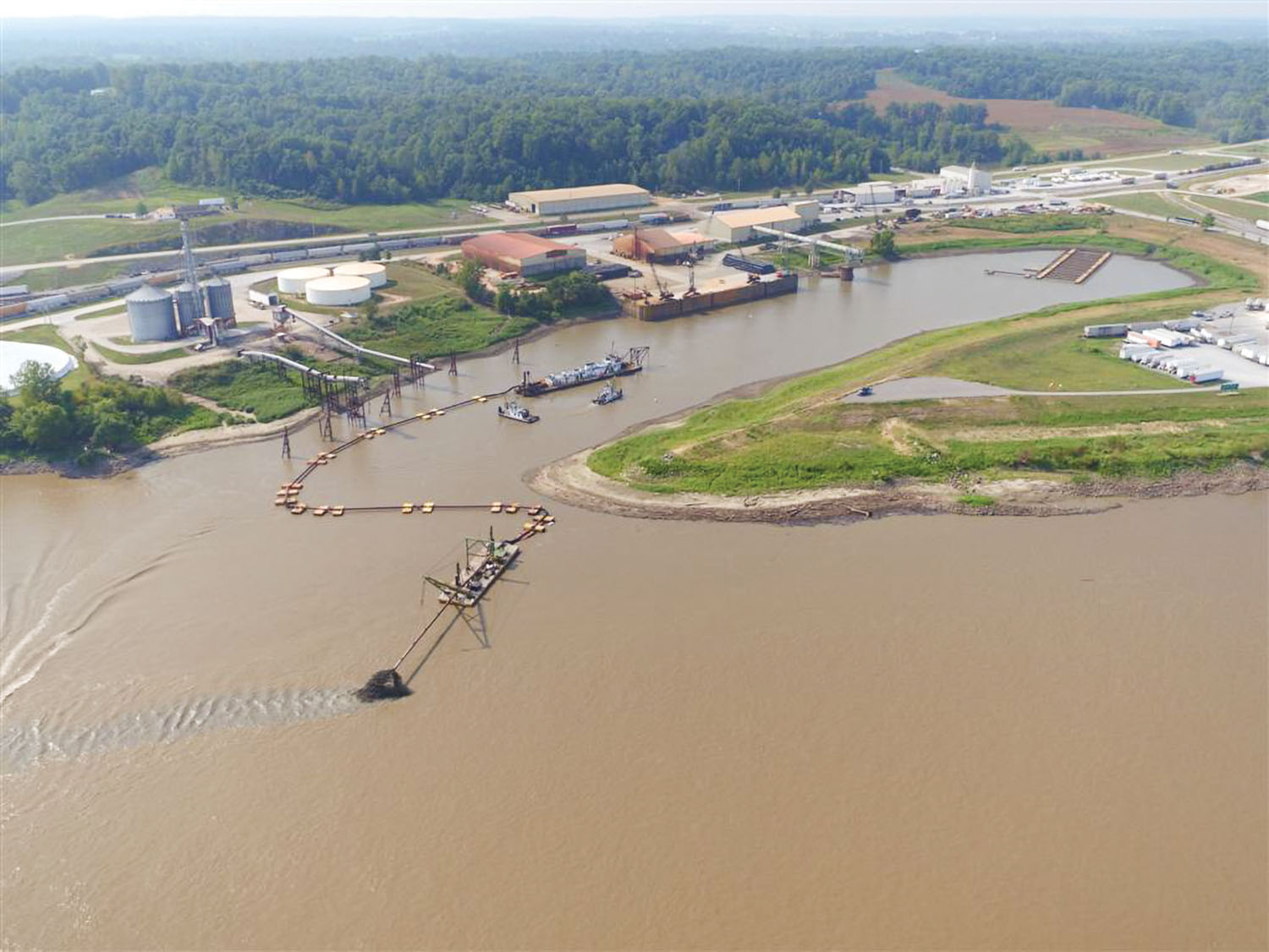 Southeast Missouri Port at Scott City, Mo., being dredged in 2017.