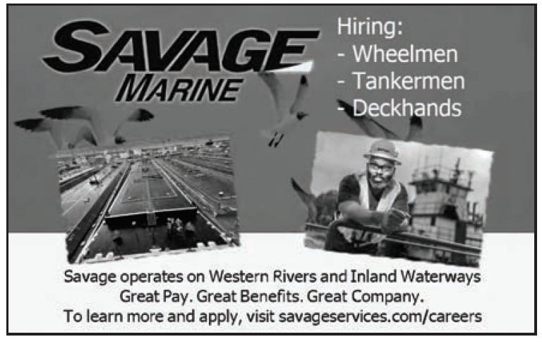 Savage Marine Service Hiring Wheelmen