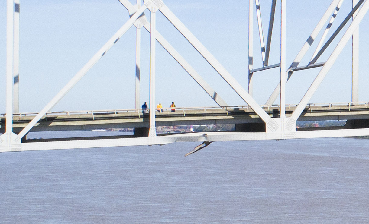 Impact point on the Sunshine Bridge after October 12, 2018, allision. (Photo by Frank McCormack)