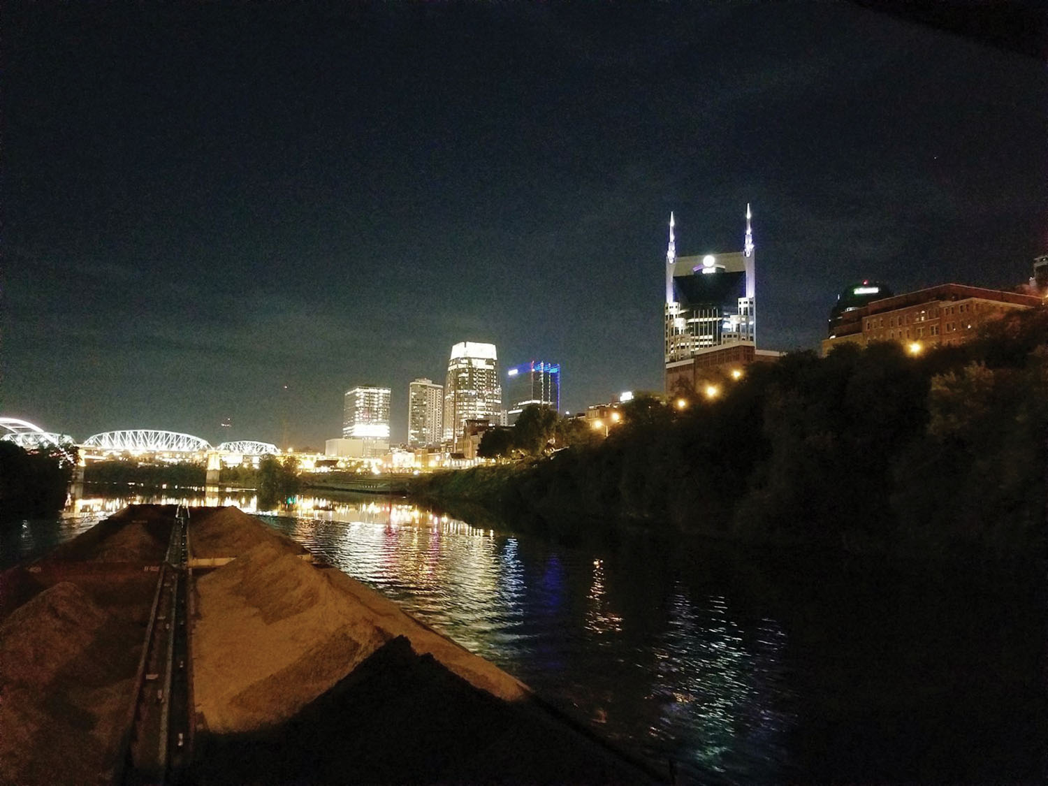Nighttime view of downtown Nashville.