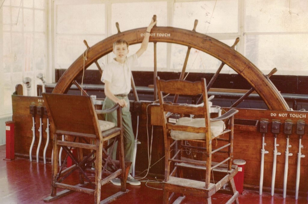 The writer, age 15, at the wheel of the steamer Sprague, June 1969. (Keith Norrington collection)