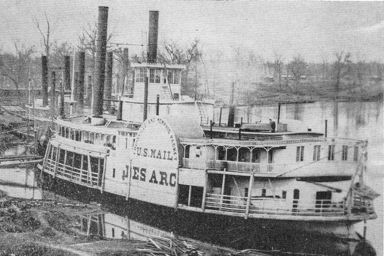 The steamer Des Arc at a White River landing in Arkansas.