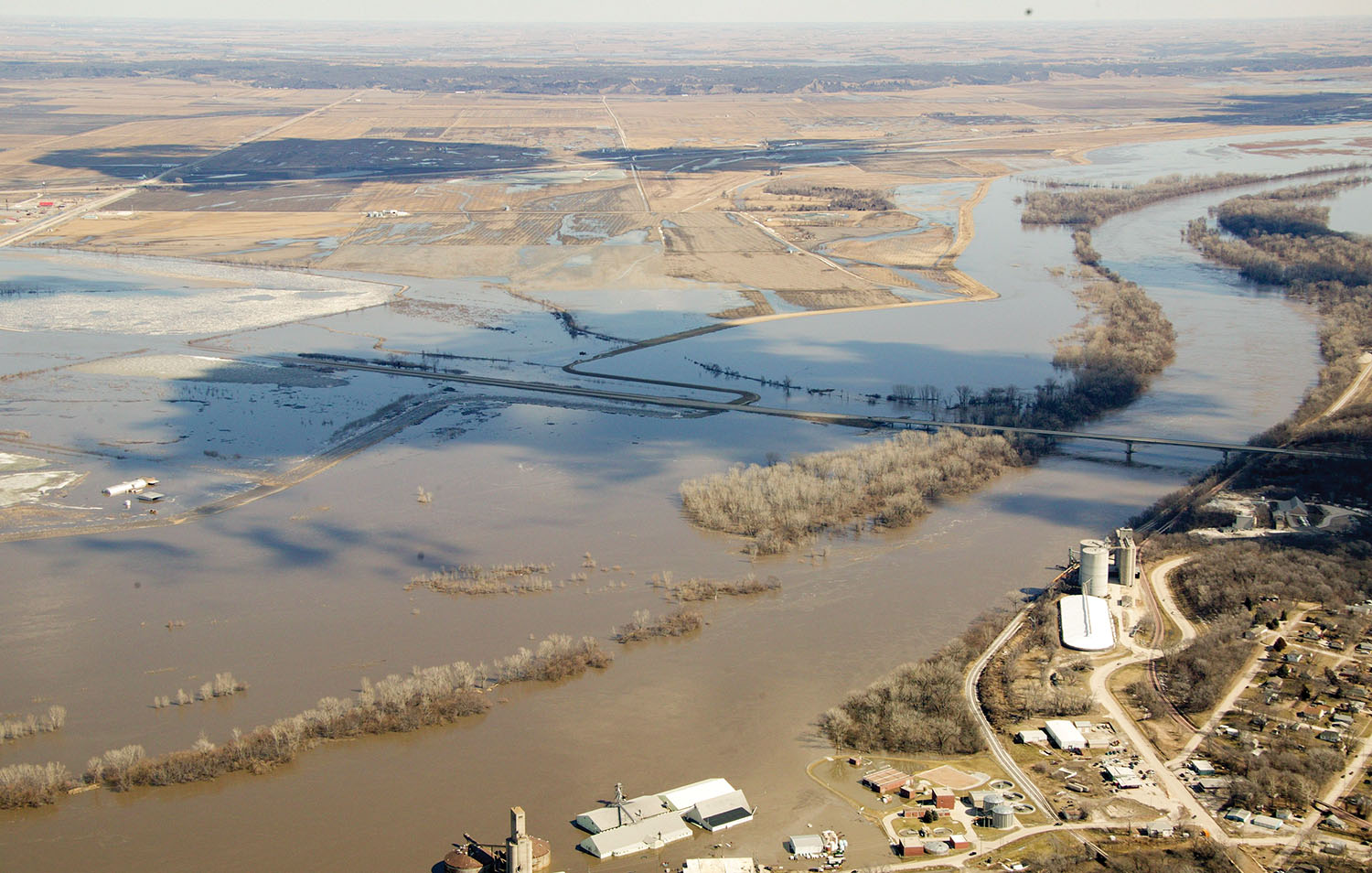 An aerial view of flooding from overtopping of levee L575 near Nebraska City, Neb., on March 16. The Missouri River reached levels never before recorded as the flooding Platte River entered the Missouri at Plattsmouth, Neb. (Photo courtesy of Omaha Engineer District)
