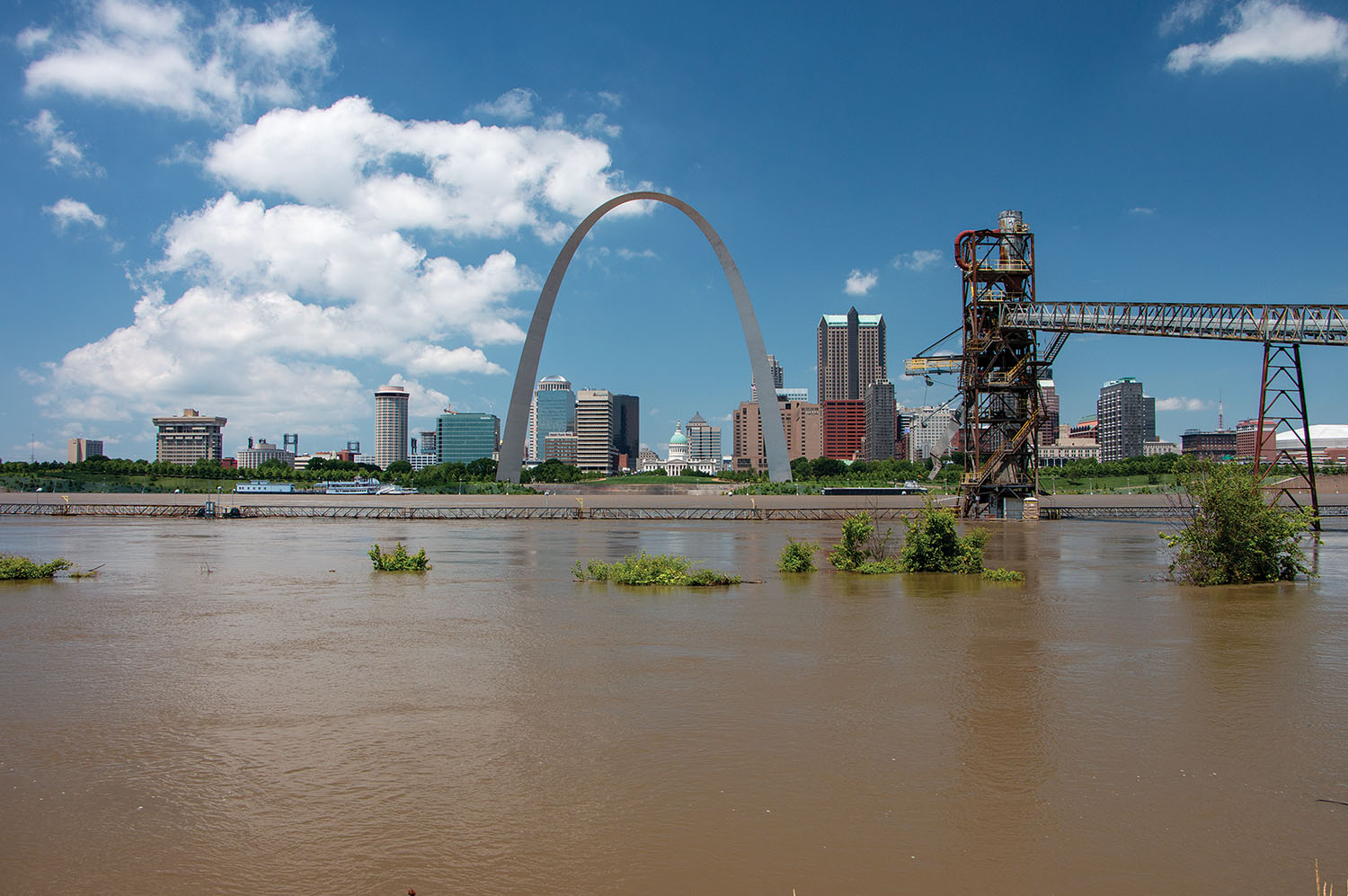 The flooded Mississippi River at St. Louis on June 5. (Photo by John Shoulberg)