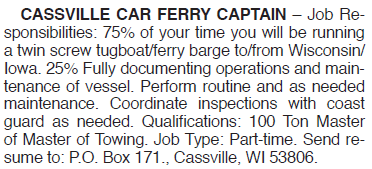 CASSVILLE FERRY CAPTAIN