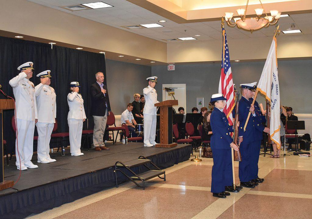 The MSU-Houma change-of-command ceremony June 27. (U.S. Coast Guard photo)
