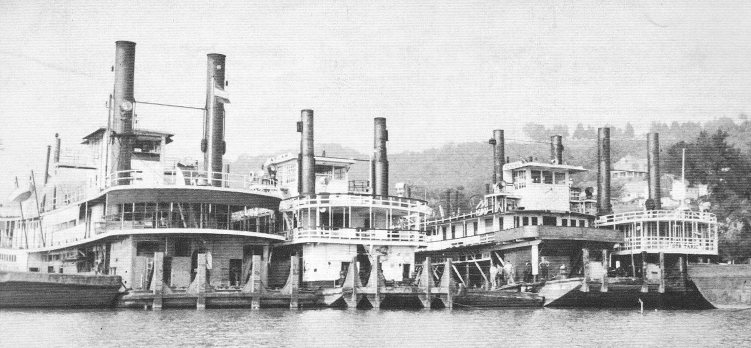 The towboats Robert F. Brandt, Atlas, Renown and Taric at Gallipolis in 1947. (Keith Norrington collection)