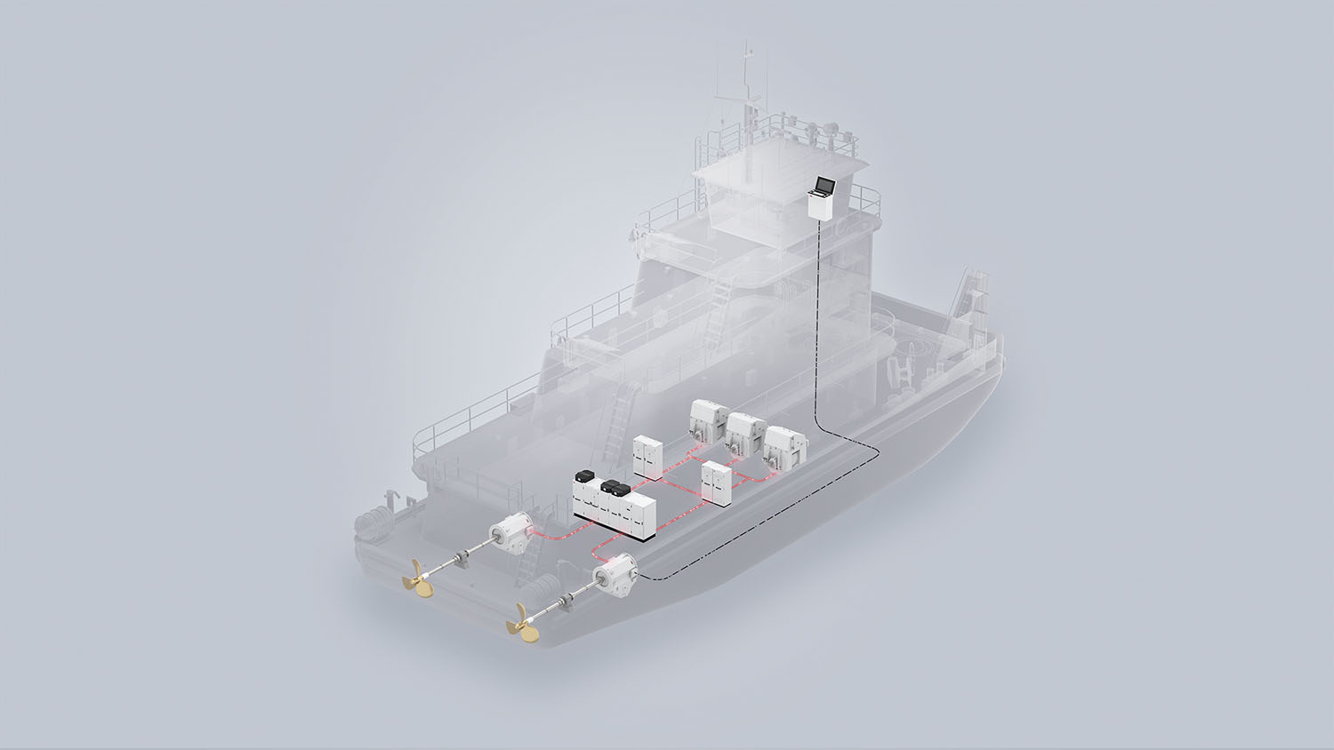 Towboat layout with three generators and two propellers. (Graphic courtesy of ABB)