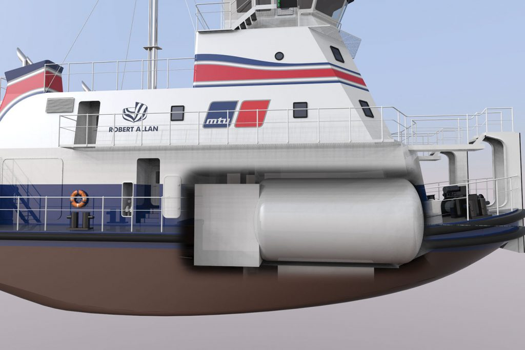 Cutaway shows placement of LNG tank in vessel.